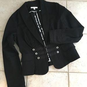 CAbi Black Cotton Military Style Blazer